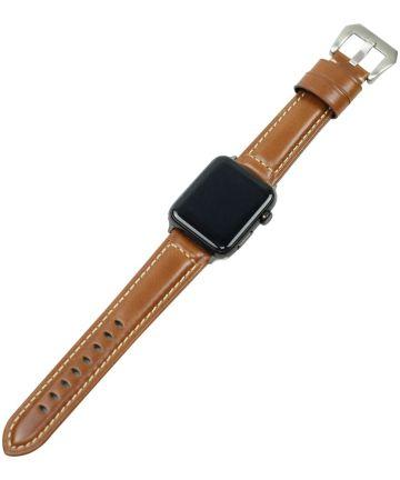 Apple Watch 44MM / 42MM Bandje Duurzaam Echt Split Leer Bruin Bandjes