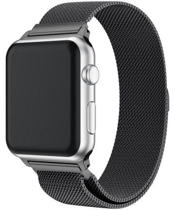 Apple Watch 44MM / 42MM Bandje Milanese Roestvrij Staal Zwart Bandjes