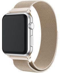 Apple Watch 44MM / 42MM Bandje Milanese Roestvrij Staal Goud/Beige