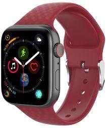 Apple Watch 40MM / 38MM Bandje Siliconen met 3D Diamant Textuur Rood