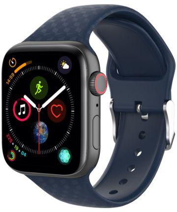 Apple Watch 40MM / 38MM Bandje Siliconen met 3D Diamant Textuur Blauw Bandjes