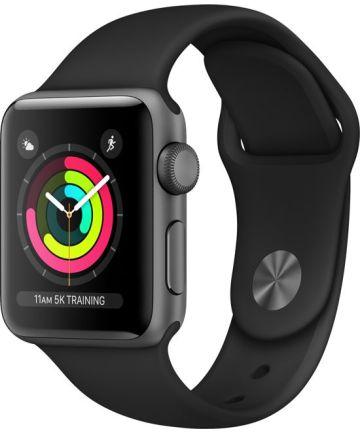 Apple Watch 40MM / 38MM Bandje Siliconen met Drukknoop Sluiting Zwart