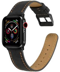 Apple Watch Band Crackle Textuur Echt Leer 4/5 40MM, 3/2/1 38MM Zwart