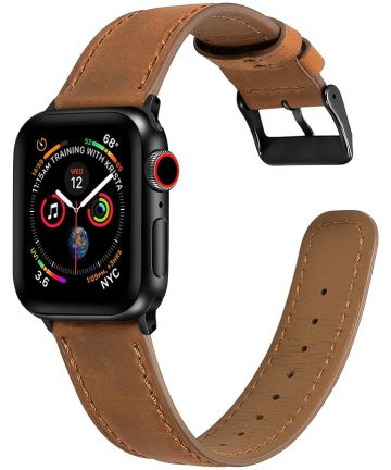 Apple Watch Band Crackle Textuur Echt Leer 4/5 40MM, 3/2/1 38MM Bruin