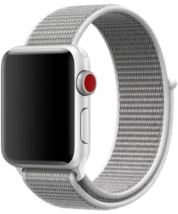 Apple Watch 44MM / 42MM Bandje Nylon met Klittenband Grijs/Wit