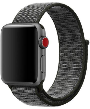 Apple Watch 44MM / 42MM Bandje Nylon met Klittenband Grijs/Groen Bandjes