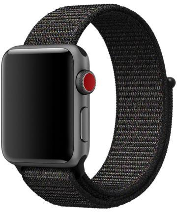 Apple Watch 40MM / 38MM Bandje Nylon met Klittenband Zwart/Grijs