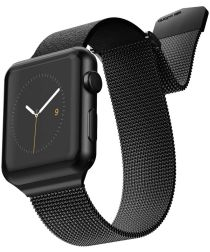 Raptic Hybrid Mesh Apple watch 44mm 42mm bandje rvs kunstleer zwart