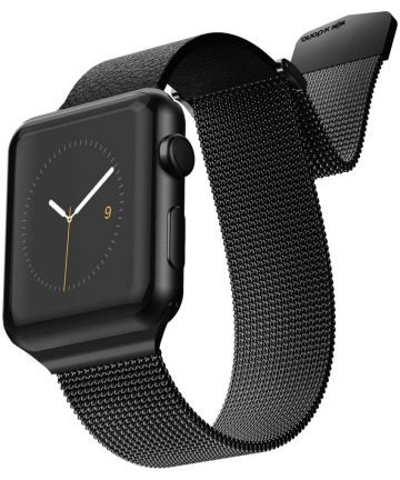 Raptic Hybrid Mesh Apple watch 44mm 42mm bandje rvs kunstleer zwart Bandjes