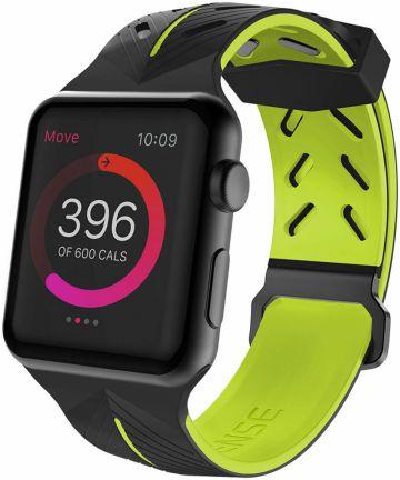 Defense Action Apple Watch 44MM / 42MM Bandje Siliconen Zwart/Groen