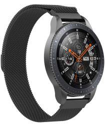 Universeel Smartwatch 22MM Bandje Milanese Roestvrij Staal Zwart