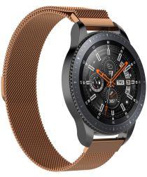 Universeel Smartwatch 22MM Bandje Milanese Roestvrij Staal Roze Goud