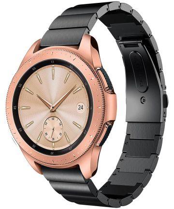 Universeel Smartwatch 20MM Bandje Luxe Schakels Roestvrij Staal Zwart Bandjes