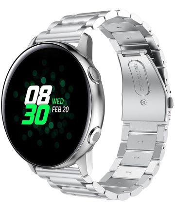 Universeel Smartwatch 20MM Bandje Roestvrij Staal met Schakels Zilver Bandjes