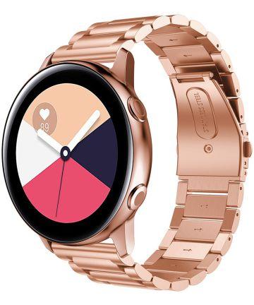 Universeel Smartwatch 20MM Bandje Roestvrij Staal met Schakels Roze Bandjes