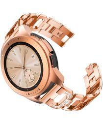 Universeel Smartwatch 20MM Bandje RVS met Diamant Design Roze Goud