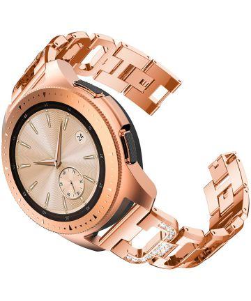 Universeel Smartwatch 20MM Bandje RVS met Diamant Design Roze Goud Bandjes
