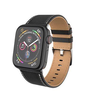 Hoco Duke Series Apple Watch Band Echt Leer 4/5 44MM, 3/2/1 42MM Zwart
