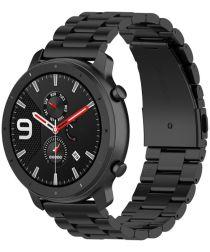 Universeel Smartwatch 20MM Bandje Schakels Roestvrij Staal Zwart