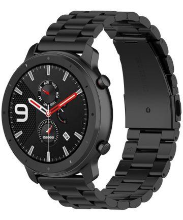 Universeel Smartwatch 20MM Bandje Schakels Roestvrij Staal Zwart Bandjes