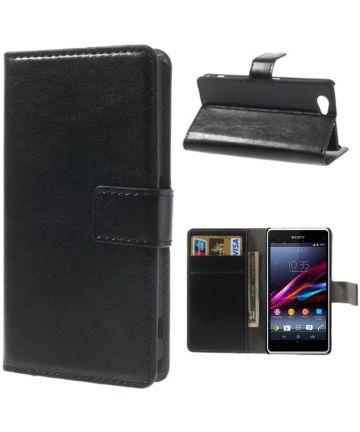 Sony Xperia Z1 Compact Hoesje met Kaarthouder Zwart