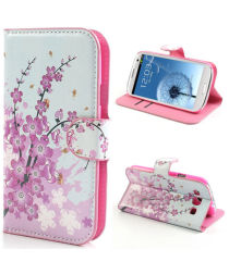 Samsung Galaxy S3 Wallet Case Stand Bloem Patroon