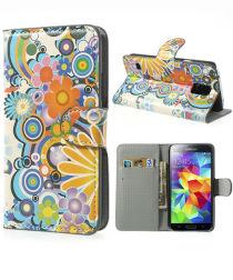 Samsung Galaxy S5 (Neo) Bloemen Wallet Stand Case