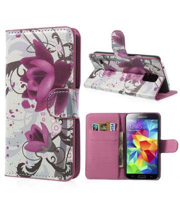 Samsung Galaxy S5 (Neo) Lotus Bloem Wallet Stand Case
