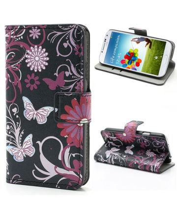 Samsung i9505 Galaxy S4 Wallet Stand Case Vlinder Patroon Zwart