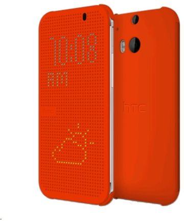 HTC One M8 Dot View Flip Case HC M100 Oranje