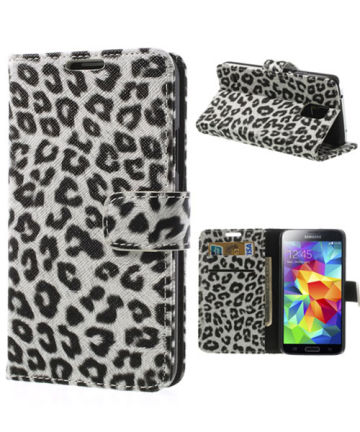 Samsung Galaxy S5 (Neo) Panter Print Stand Case Wit