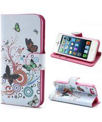 Apple iPhone SE / 5S Portemonnee Hoesje Print Vlinder