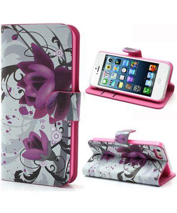 Apple iPhone SE / 5S Portemonnee Hoesje Print Lotus
