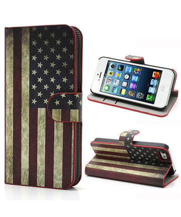 iPhone 5 / 5S / SE Wallet Stand Case Amerikaanse Vlag Patroon