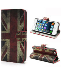 Apple iPhone SE / 5S Portemonnee Hoesje Print Britse Vlag