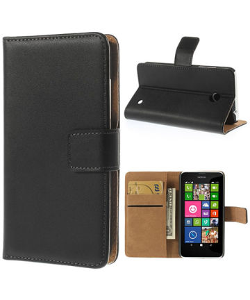 Nokia Lumia 630/635 Wallet Stand Case Zwart