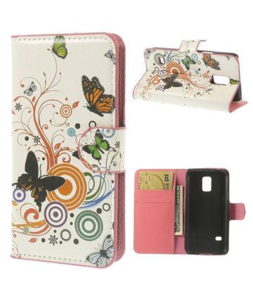 Samsung Galaxy S5 Mini Butterfly Wallet Case Hoesjes