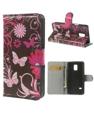 Samsung Galaxy S5 Mini Butterfly Flowers Wallet Case