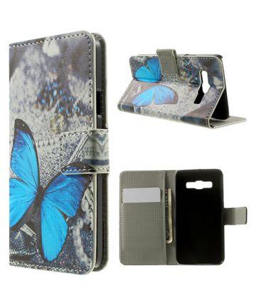Samsung Galaxy A3 Wallet Flip Case Hoesje Blue Butterfly