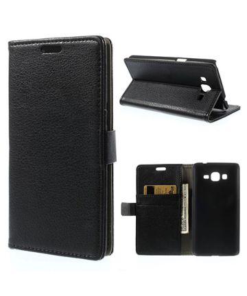 Samsung Galaxy Grand Prime Wallet Flip Case Hoesje Zwart