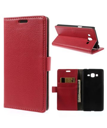 Samsung Galaxy Grand Prime Wallet Flip Case Hoesje Rood