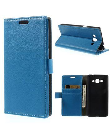 Samsung Galaxy Grand Prime Wallet Flip Case Hoesje Blauw