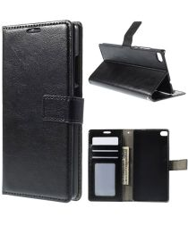 Huawei Ascend P8 Wallet Flip Case Stand Zwart