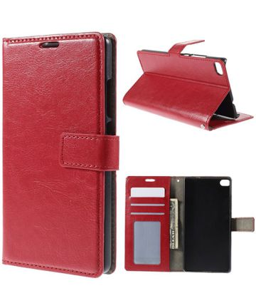 Huawei Ascend P8 Wallet Flip Case Stand Rood