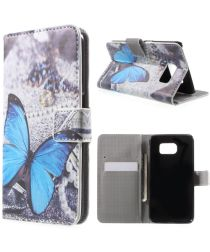 Samsung Galaxy S6 Blue Butterfly Wallet Case