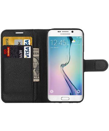 Samsung Galaxy S6 Edge Litchi Stand Case Zwart