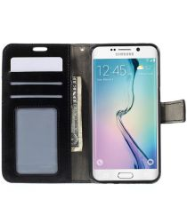 Samsung Galaxy S6 Edge Crazy Horse Wallet Case Zwart