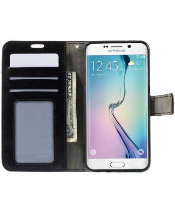 Samsung Galaxy S6 Edge Crazy Horse Wallet Case Zwart