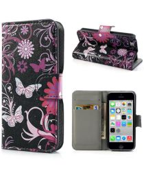 Apple iPhone 5C Wallet Hoesje Vlinder en Bloem