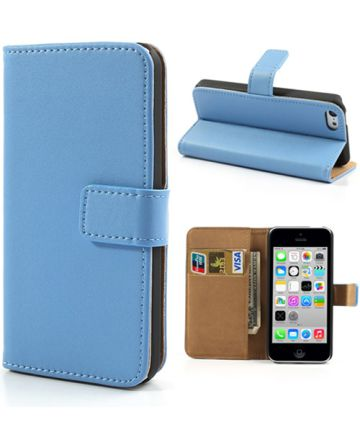Apple iPhone 5C Wallet Stand Case Blauw